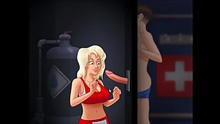 anime blond big tits life guard blowjob