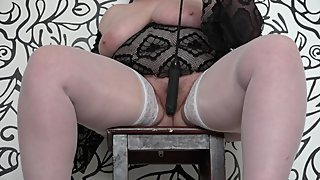 Busty milf with a big ass fucks anal to orgasm.