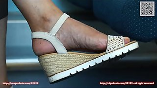 Candid wedges shoes and sandals 4K in origina, very detailde feet and shoes