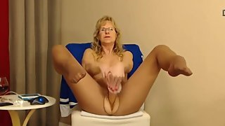 Naughty talkative gran Brandi with pantyhose domination
